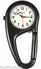 Ravel Matt Black Clip On Carabiner Style Doctors Nurses Unisex Fob Watch NEW