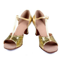 Lady Latin Shoes Women Ballroom Tango Party Dance Shoes Low-heeled Sequins Shiny