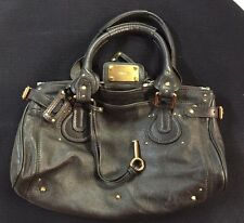 Authentic CHLOE Paddington Shoulder Bag Black Leather 02-06-53 Purse Handbag