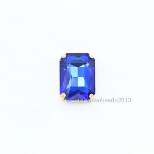 20P 14x10mm rectangle sew on crystal glass foiled rhinestones Jewelry gold plate