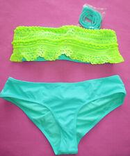 36251d4120 Victoria's Secret Crochet Ruffle Bandeau Top Cheeky Bottom Bikini Swimsuit  XS