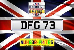 DFG 73, Dateless, Dan, Darren, David, Den, Des, Cherished Reg, Private Plate