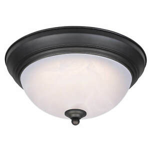 Dimmable LED Flush Mount Light Fitting Ceiling Lamp Bronze with Alabaster Glass