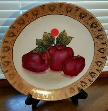 """Toyo Trading Company 10"""" Decorative Plate Red Apples Pink Design Edge"""