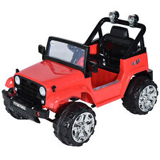 12V Kids Ride on Truck Jeep Car RC Remote Control w/ LED Lights Music MP3 Red