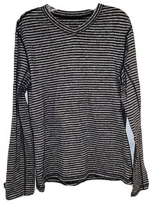 Lululemon  Pullover Heathered Gray Striped  EUC Long Sleeve  Knit Top