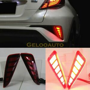 Red LED Rear Bumper Light Reflector Brake Tail Lights For 2016-2018 Toyota CHR