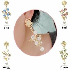 Retro Pearl Party Jewelry Accessories Flowers Branch Ceramic Earrings