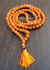 5 MUKHI LORD SHIVA HINDU -BUDHA YOGA 108+1 RUDRAKSHA BEADED 7MM PRAYER MALA