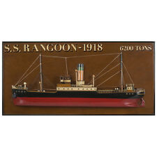 "S. S. Rangoon 1918 Tramp Steamer Wooden Half Model 25"" Nautical Wall Decor"