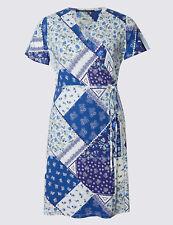 BNWOT M&S COLLECTION PLUS Blue Floral Print Tie Front Wrap Dress UK 20