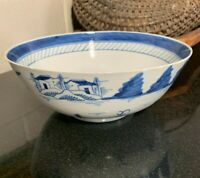 "Mid-19th Century Chinese Export Blue & White Nanking 9"" Round Porcelain Bowl"