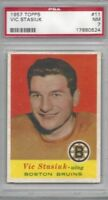 1957 Topps hockey card #11 Vic Stasiuk, Boston Bruins graded PSA 7