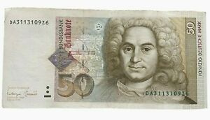German Federal Republic 50 Mark Banknote Year 1996 Original Deutsche Money Bill