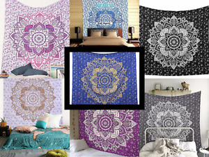 Indian Multicolour Mandala Tapesrtry Wall Decor Bohemia Bedspreads Tapestry