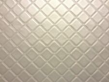 TRELLIS VINYL PVC SILVER LEATHERETTE FAUX LEATHER QUILTED FABRIC