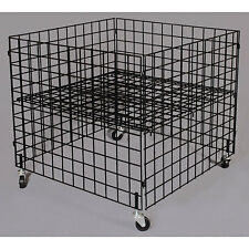 Black Wire Dump Bin 36 x 36 x 30 Inches With Adjustable Shelf and Casters