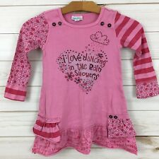 Naartjie Girls Pink Embellished Graphic Tiered Skirt Dress. Size 4 Years.