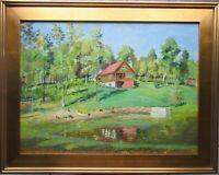 H D Becker Fine Original Oil Painting Impressionist Spring Landscape House Lake