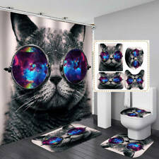 Funny Gray Cat Shower Curtain Bath Mat Toilet Cover Rug Bathroom Decor