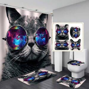 Funny Gray Cat Shower Curtain Bath Mat Toilet Cover Rug Bathroom Decor