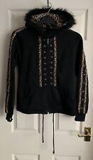 Living Dead Souls Black & Leopard Print Ears Hooded Jacket Size S