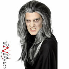 Gothic Vampire Wig Black & White Male Mens Halloween Fancy Dress Vamp Costume