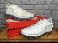 NIKE TRIPLE WHITE AIR VAPORMAX PLUS VM TRAINERS VARIOUS SIZES CHILDRENS, LADIES