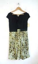 Jonathan Martin Dress NEW Size 12 Leopard Print Knit & Chiffon Cap Sleeves