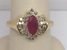 14K YELLOW GOLD RUBY CLUSTER MARQUISE HALO LADIES RING SIZE 7.5