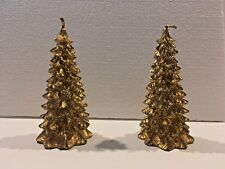"""Set of 2 Boston Warehouse Gold Christmas Tree Candles 5"""" tall never lit"""