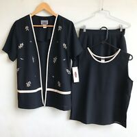 WONKY Skirt Suit Size M Black Embroidered Clothing Set Jacket, Skirt, Tank Top