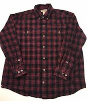 Duluth Trading Mens Plaid Long Sleeve Flannel Shirt Size XL Red Black Button Up