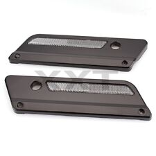 BLACK SADDLEBAG LATCH COVERS +CLEAR REFLECTORS FOR 1993-2013 HARLEY TOURING HARD