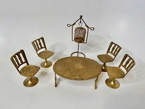Dollhouse Miniature Brass Table/ TulipChairs /Bird Cage, 1950's India 1:16 Scale