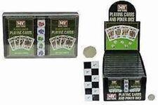 2 Packs De Cartas De Juego Con 5 Dados del póker en Caja De Juegos De Viaje vacaciones de playa