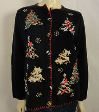 VICTORIA JONES Christmas tree beaded sweater with unique buttons size medium