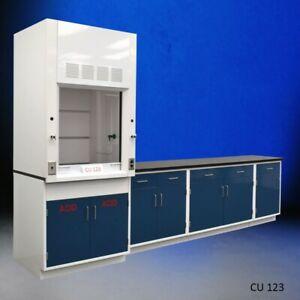 3 ft Fisher American Fume Hood w / ACID Storage & 9 ft Laboratory Cabinet E1-537
