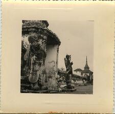 PHOTO ANCIENNE - VINTAGE SNAPSHOT - BANGKOK THAILANDE TEMPLE STATUE SCULPTURE