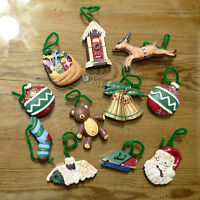 Christmas Ornament Ceramic Assorted Reindeer Santa Bells Roof Glitter Lot of 11