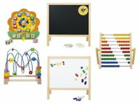 Wooden Learning Toys Bead Frame Abacus Table Top Easel Board Teaching Clock