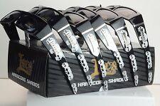 6 PAIR LOCS Square Wrap around Sunglasses - Black / Skull Print  s/dog  PR-LOC-6