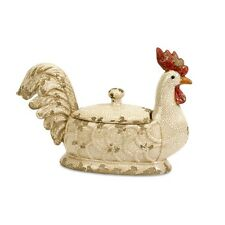 French Country Tuscan Ivory Rooster Lidded Kitchen Dish Bowl Container Decor