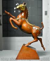 """12 """"Chinois Violet Bronze Doré Feng Shui Animal Zodiaque Année Cheval Sculpture"""