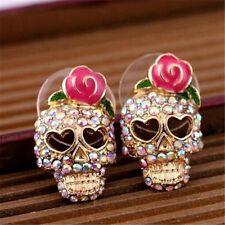 Beauty Women Pink Rose Rhinestone Skeleton Skull Ear Stud Earrings Jewelry Gift