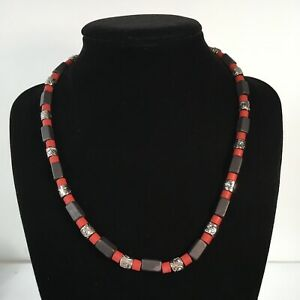 "Men's Necklace Red Black Silvertone Beads Handmade 17"""