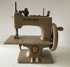 Vintage Singer Toy Sized Sewing Machine Beige Hand Crank Made In Great Britian