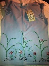Ladies Beaded Knit Top Size Small Baby Blue Floral Bead Design Paris New