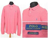 Mens Polo Ralph Lauren Long Sleeve Polo Shirt Pink Custom Slim Fit XXL / 2XL