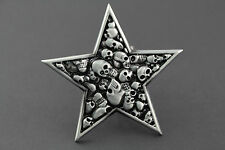 MANY SKULLS IN STAR PENTAGRAM SILVER METAL BELT BUCKLE GOTHIC DARK
